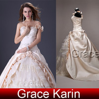 Grace Karin Stock New Stunning Champagne Bridal Wedding Gown...