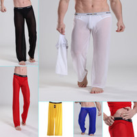 Wholesale Sexy Men s Underwear Male See through Mesh Lingerie GYM Causal Long Trousers Pants Transparent Shorts Hot Bottoms New Comfy US Size S M L