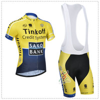 Wholesale 2014 SAXO BANK Cycling jersey bib shorts THINKOFF short sleeves cycling bib jersey set ORANGE YELLOW amp BLUE color size XS XL for choice