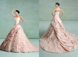 Wholesale 2014 Ball Gown Sweetheart Kittychen Couture Wedding Dresses Charmeuse Feathers Flower Ruched Lace Up Chapel Train Bridal Dress Gowns H1037