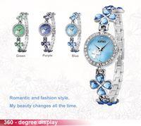 Wholesale 2014 Kimio Brand Stainess Steel Strap Leaf Clover Crystal Quartz Ladies Bracelet Watch Fashion Luxury Women Watches K456L H8639