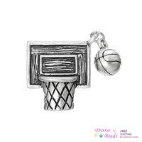 B35255 basketball hoop nets - Charm Pendants Basketball Net Hoop Sports Antique Silver mm x mm B35255