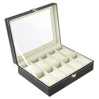 Wholesale Watch Display Case Jewelry Collection Storage Organizer Leather Box Grid H9069