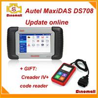 Wholesale 2014 Original Autel MaxiDAS DS708 DS auto scanner diagnostic tool update online Multi language multi language GIFT launch creader IV