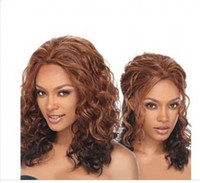 beyonce style wigs - Bright Brown Beyonce Rihanna Super Star Style Middle Curly Wig Synthetic Cosplay