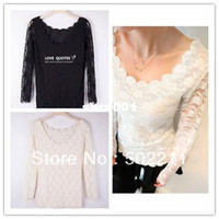 Wholesale Retail new fashion womens summer chiffon lace silk tops loose blouses s for women choice colours tops tee free