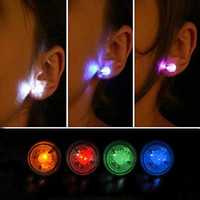 led button light - 2pc pair Night Light Diamond LED Earrings Bar Stage Dance Fashion ear Stud Earring Glow in Dark Button Ear for Party supplies O Z106