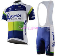 Short Anti Bacterial Men Tour de France ORICA-GreenEDGE Team Scott Cycling Jersey Set Lycra Polyester Logo Wicking Moisture Bicycle Short Sleeve Blue Tops Bib Shorts