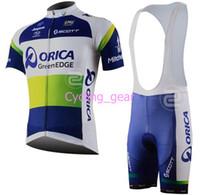 Short Anti Bacterial Men Tour de France ORICA-GreenEDGE Team Scott Cycling Jersey Set Lycra Polyester Logo WickingMoisture Bicycle Short Sleeve Blue Tops Bib Shorts