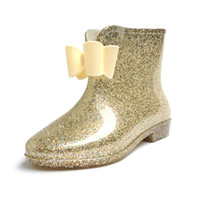 Wholesale Look shiny Candy color double bow round head soft rubber boots flower Flattie rain boot Camellia bling bling Galoshes