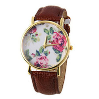 Wholesale Exquisite gift invicta Fashion Flower Pattern Dial PU Band women s lady sapphire Wrist Watches forladies girl student winner