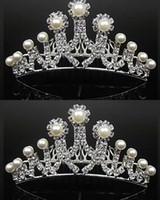 Wholesale New Shining Rhinestone Crown Most Popular Stimulated Pearl Crown Wedding Prom Party Girls Bride Tiaras Fashion Crowns