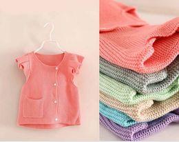 Wholesale 2014 Kids Girls Autumn Knit Vest Baby girl lovely crochet sweaters Children s pocket waistcoat