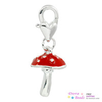 B26839 clip on charms - Clip On Charms Mushroom Silver Plated Enamel Red Fits Link Chain Bracelets x1 cm B26839