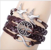 Wholesale Vintage The tree of life and birds hand woven bracelets