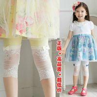 Leggings & Tights Girl Summer Children's Fashion Lace Splicing Leggings Girl's Lace Leggings Kids Printing Half Pant Tight Trousers 10 pcs lot