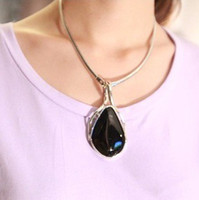 Pendant Necklaces Women Alloy European and American big black agate gemstone necklace collar necklace short paragraph clavicle chain women fashion clothing accessories