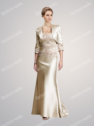 Wholesale 2014 DHgate New Style Discount Strapless Champagne Satin Appliques Sheath Bolero Mother of the Bride Dresses