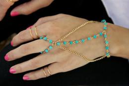 Fashion Women's Jewelry Handmade Blue Bead Bracelet Bangle Slave Chain Finger Rings Hand Harness Gold