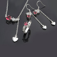 Wholesale Necklace Earing Ring Set Red Crystal Charm sterling silver Womens New Jewelry s664