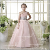 pink bandage dress - 2015 Lovely One Shoulder Ball Gown Flower Girl Dresses Pink Crystals Bandage Tulle Glitz Pageant Dress Wedding party Flower Gowns CPS026