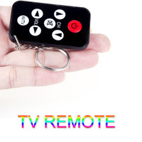 7 pulsanti Mini Universal IR Telecomando TV con Portachiavi Nero V602