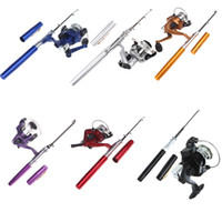 Wholesale 6 Colors Mini Portable Aluminum Pocket Pen Fishing Rod Pole Reel Baitcasting Rods Hot Sale H8022