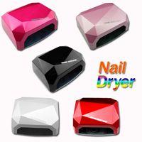 Wholesale 5pcs Fashion CCFL W LED Light Diamond Shaped Best Curing Nail Dryer Nail Art Lamp Care Machine for UV Gel Nail Polish EU Plug H10560