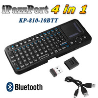 Mini iPazzport 4 IN 1 KP-810-10BTT Bluetooth 3.0 Wireless Palmare Completo di QWERT Tastiera e Mouse il Touchpad Puntatore Laser Retroilluminazione C1916