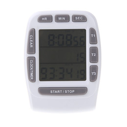 Wholesale LCD Digital Alarm kitchen Timer with Triple Display Line Timer Countdown Stopwatch cooking tools cronometro para cozinha H10844