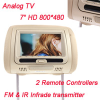 analog tv - 2pcs inch HD LCD Car Headrest Monitor DVD Player With Analog TV IR Infrade FM Transmitter Remote Controller SD MS MMC K1224