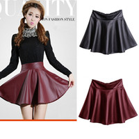 pleated skirt - Female Mini Short Women Faux PU Leather Skirt High Waist Solid Pleated Flared Skirts Black Red G0433