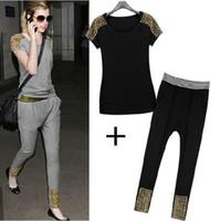 Women Short Sleeve Regular New Women's Suits Short T-shirt + pants Slim Tracksuits Casual Women Suit Harlan Pants