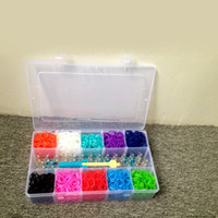 Hair Rubber Bands random fashion Rainbow loom kit clear plastic box for Kids DIY bracelets with 3000ps rubber bands, 5 bag clips, 1 hook 1 loom
