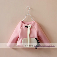 Wholesale Foreign trade Girl s Jackets Loveliness Little swan Crew neck Knitting zipper Coats European Style Children s Outwear Kids party Clothing