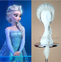 Wholesale 2014 High fashion Frozen Elsa Wigs Frozen Cosplay Wig With Ponytails Silver White Streaked Full Wigs Cos hair wigs Snow European Wig