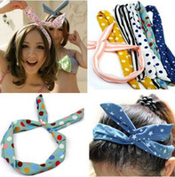 Wholesale 1PC Bulk Sweet Lady Girls Rabbit Ear Ribbon Chiffon Headband Hair Band Fashion Summer Beach hair jewelry HPX044