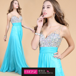 Wholesale 2014Formal Gown Fashion Chiffon Beading Sexy V Neck Sheer Straps Elegant Long In StocK Occassion Dresses Formal Evening Dress Free Shiipping