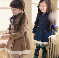 Tench coats Girl V-Neck 2014 The New Spring Fall Children's Tench Coats Double-Breasted Belt Lace Girl Long Coat Wind Jacket Kid's Outwear 100-140 GX590