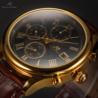 Wholesale IMPERIAL KS Clear Mineral Glass Golden Case Luxury Calendar Mechanical Brown Leather Strap Casual Watch Men Wristwatch KS149