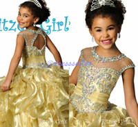 Wholesale 2015 Luxury Illusion Crew Keyhole Back Ball Gown Floor length Layers Ruffle Organza Crystals Heavy Beaded Ritzee Girl s Pageant Dresses