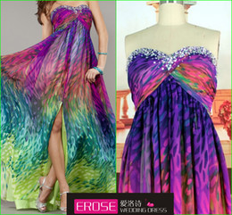 Wholesale 2014 Fashion Design Beaded Sweetheart Print Chiffon Front Slit Elegant Long In StocK Occassion Dresses