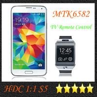 Wholesale HDC S5 i9600 New Arrival Perfect TV Remote Control Inch Android MTK6582 Quad Core GB RAM G ROM Camera MP x108
