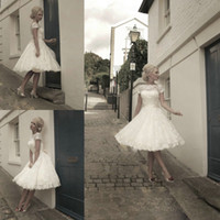 Ball Gown Reference Images Crew 2014 Top selling Sexy short wedding dress Lace bride dress Ball Gown Tea Party Knee length Short Sleeves wedding dresses