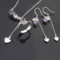 Earrings & Necklace Jade Sterling Silver Necklace Earing Ring Set Purple Crystal Charms 925 sterling silver Womens New Jewelry s676