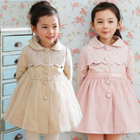Tench coats Girl Turn-down Collar 2014 New Arrival Children's Tench Coats Of Spring Fall Outwear High Quality Lace Gauze Girl Princess Wind Coat Long Jacket Kids Coats GX591
