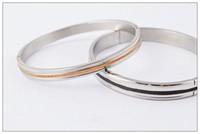 HOT sale Matte lines silver bracelet, titanium steel bracele...