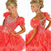 Wholesale New Listed Halter Toddler A line Organza Ruched Cap Sleeve Mini Backless Cupcake Girls Pageant Dresses Formal Ritzee Flower Girls Gowns