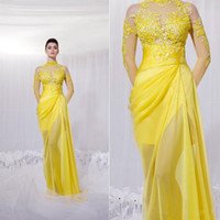 Wholesale Zuhair Murad New Yellow Long Sheer Sleeves Evening Dresses High Neck sheer Prom Dresses Celebrity Dresses Lace appliques chiffon WL133