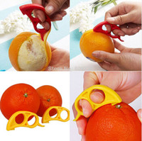 Wholesale 2 Orange Lemon Citrus Fruit Platic Easy Slicer Cutter Opener Peeler Remover Scaler with tracking number FG09001